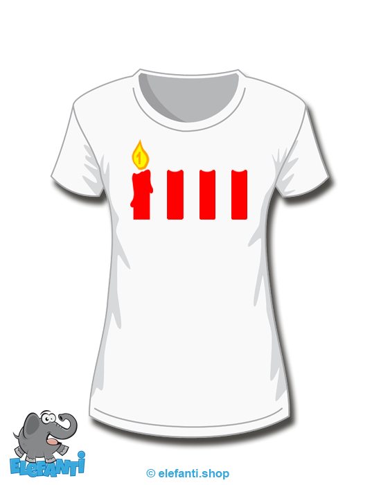 T-Shirt Girl weiss 1. Advent