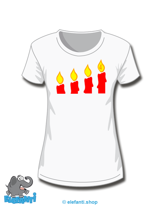 T-Shirt Girl weiss 4. Advent