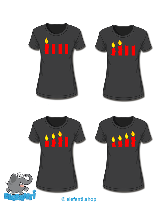 T-Shirt Girl schwarz 4er Set Advent