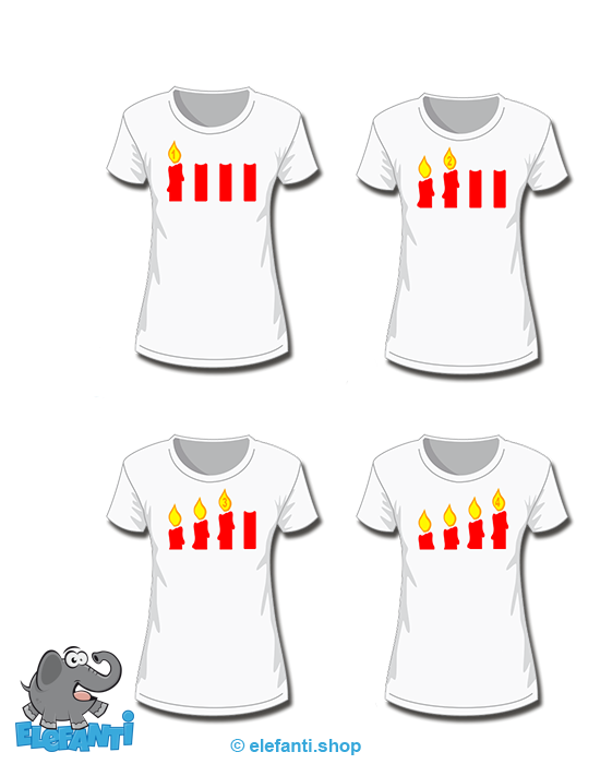 T-Shirt Girl weiss 4er Set Advent
