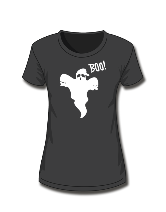 T-Shirt Girl<br> Halloween Geist <br>*glow in the dark*