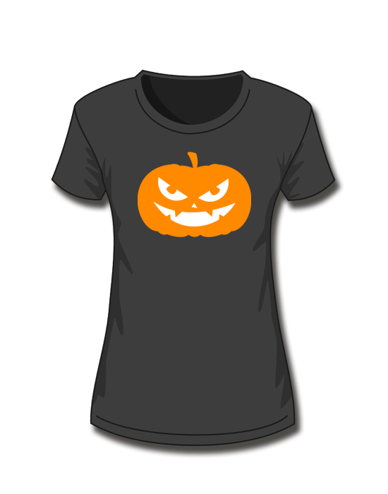 T-Shirt Girl<br> Halloween Kürbis <br>*glow in the dark*