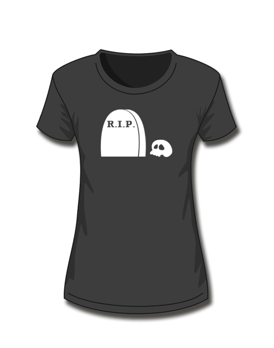 T-Shirt Girl<br> Halloween R.I.P. Skull<br>*glow in the dark*