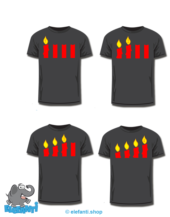 T-Shirt schwarz <br> 4er Set Advent