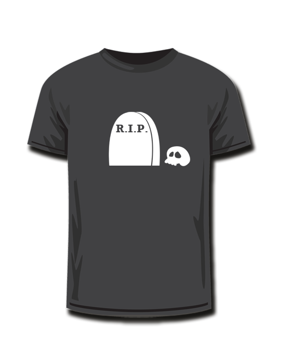 T-Shirt <br> Halloween R.I.P. Skull<br>*glow in the dark*
