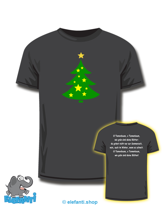 T-Shirt schwarz<br>O Tannenbaum 1. Strophe<br>*glow in the dark*